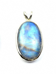 Super Large Rainbow Moonstone Pendant Silver 'One-Off'